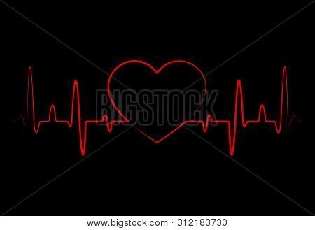 Abstract Heart Beats, Cardiogram. Cardiology Black Background With Red Heart. Pulse Of Life Line For