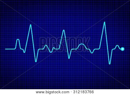 Heart Pulse Monitor With Signal On Dark Blue Background. Heart Beat. Ekg Wave. Health Concept With C