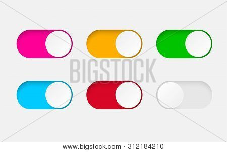 Set Of On And Off Toggle Switch Buttons.design Colorful Switch Buttons Set.toggle Slide For Mobile A