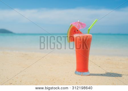 Watermelon Cocktail On Blue Tropical Summer Beach In Phuket, Thailand. Summer, Vacation, Travel And