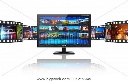 Media telecommunications and streaming video concept