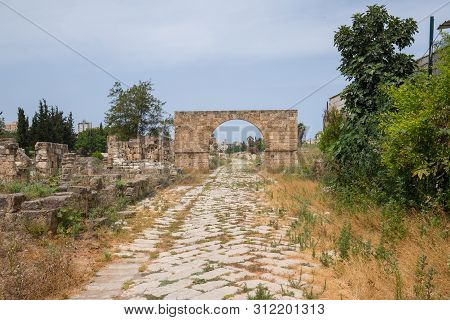 The Byzantine Road. Al-bass Tyre Necropolis. Roman Remains In Tyre. Tyre Is An Ancient Phoenician Ci
