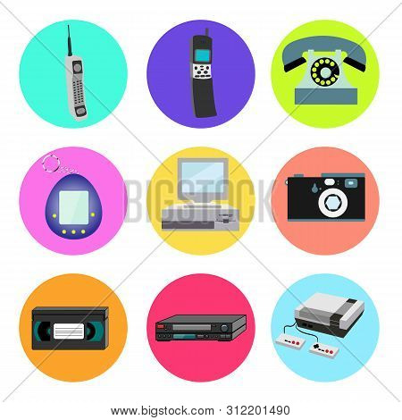 Set Of Trendy Retro Old Cool Hipster Vintage Round Icons From 70s, 80s, 90s Items Mobile Cell Phone,