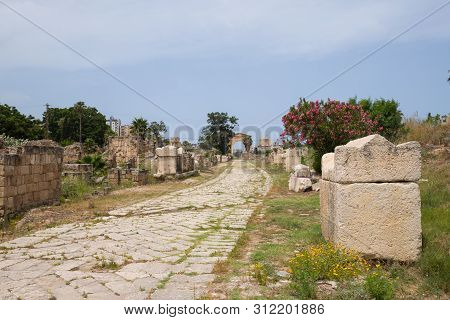 Some Sarcophagi Along The Byzantine Road. Al-bass Tyre Necropolis. Roman Remains In Tyre. Tyre Is An