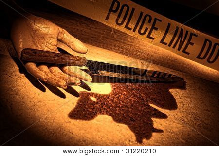 Dead Woman Hand And Bloody Knife At Crime Scene