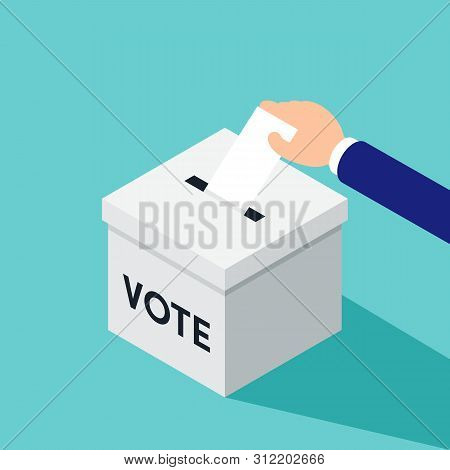 Election And Voting Concept. Businessman Putting A Ballot In A Ballot Box Isometric Flat Design Styl