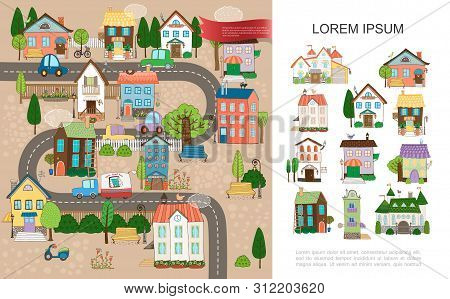 Hand Drawn Small Town Concept With Estates Cottages Houses Of Different Architecture Trees Poles Fen