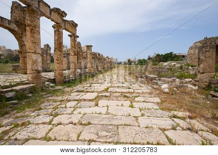 Roman Aqueduct And Colonnaded Street. Roman Remains In Tyre. Tyre Is An Ancient Phoenician City. Tyr