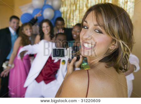 Group of Teenagers Posing for Photo at Prom