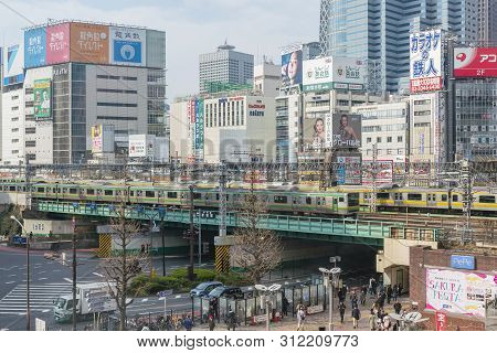 Tokyo, Japan - Mar 16, 2019: Train Passing Through Shinjuku In Tokyo. Shinjuku Is A Major Commercial