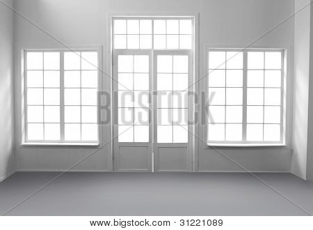 Windows and white door