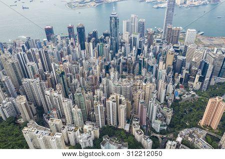 Aerial View Of High-rise Buildings In Hong Kong