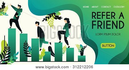 Refer A Friend Vector Illustration Concept, Group Of People Climbing And Climbing Char Bar Statistic