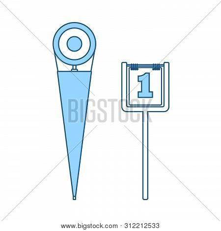 American Football Sideline Markers Icon. Thin Line With Blue Fill Design. Vector Illustration.