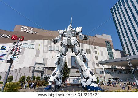 Tokyo, Japan - Mar 17, 2019: View Of The Unicorn Gundam Statue In Odaiba Of Tokyo. Gundam Is Popular