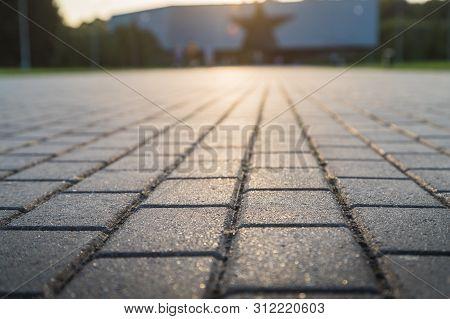 Concrete Paver Block Floor Pattern For Background