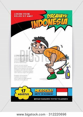 Cartoon Put A Pencil Into A Bottle, Merdeka Mean Victorious, Dirgahayu Mean Happy Independence Day,