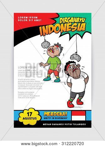 Cartoon Indonesia Independence Day, Eat Crackers Game Illustration, Merdeka Mean Victorious, Merahda