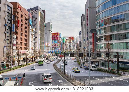 Tokyo, Japan - Mar 19, 2019: View Of The Busiest Area In Shinjuku In Tokyo. Shinjuku Is A Major Comm