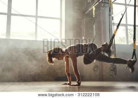 Trx Training. Young Athletic Woman In Sports Clothing Training Legs With Trx Fitness Straps In The G