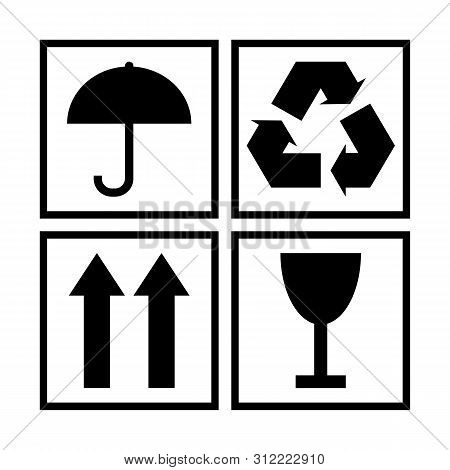 Black And White Packaging Cargo Symbols For Cardboard Or Wooden Boxes. Protection From Moisture, Env