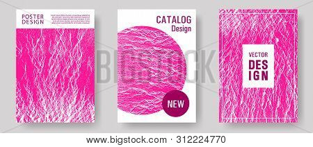 Booklet design vector layouts set. Plastic pink color waves textures. Buzzing rippling motion background texture. Branding profile cover samples. Cool booklet vector cover templates design. poster