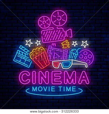 Cinema, Night Neon Sign, Logo, Emblem, Icon For Movie. Bright Signboard, Bright Night Advertising. G