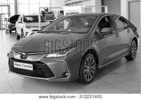 Russia, Izhevsk - July 18, 2019: Toyota Showroom. Modern New Car Toyota Corolla. Famous World Brand.