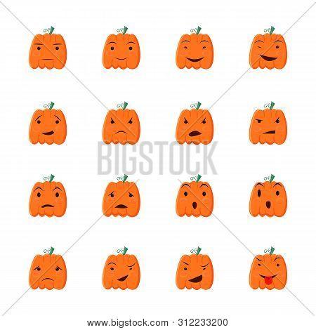Halloween Pumpkin Icons Set. Cartoon Style Design Elements.