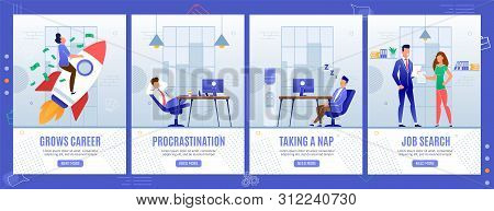Office Life Situations Mobile Landing Pages Set. Career Growth, Procrastination, Taking Nap, Job Sea