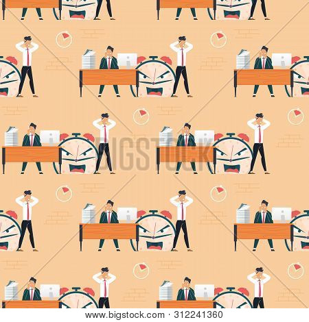 Breaking Burning Deadline and Male Office Workers Seamless Pattern. Tired, Exhausted Coworkers Feeling Stress from Workload. Metaphor Alarm Clock with Angry Face. Vector Flat Endless Illustration poster