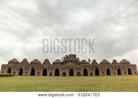 Ruins Of The Elephant Stable Inside Zanana Enclosure At Hampi From 14th Century Vijayanagara Kingdom
