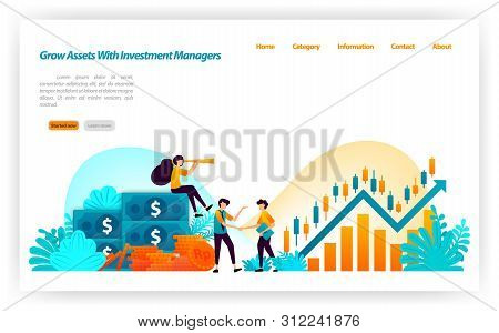 poster of grow asset of financial investors with market investment choices with finance and investment managers. money to stock. vector illustration concept for landing page, ui ux, web, mobile app, banner, ads