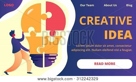 Creative Idea Horizontal Banner. Office Employee Holding Huge Ligh Bulb Separated On Puzzle Pieces.