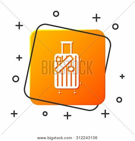 White Suitcase For Travel And Stickers Icon Isolated On White Background. Traveling Baggage Sign. Tr