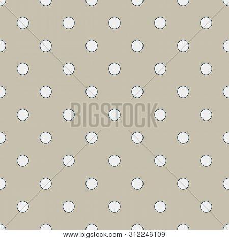 Seamless Geometric Pattern In Cute White Polka Dots On Burlap Fond. Print For Textile, Fabric Manufa