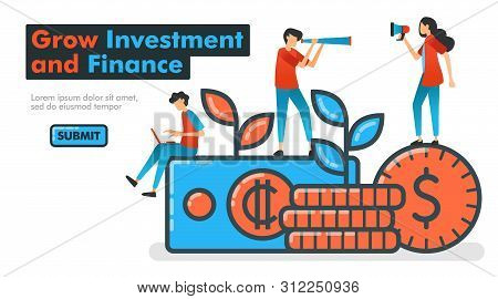 poster of Grow Investment and Finance line vector illustration. invest money to grow financial assets and expect huge profit growth. looking for and promoting investment managers. Landing pages Website Banner