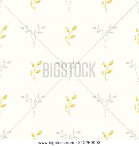 Delicate Hand Drawn Silver And Gold Foliage. Seamless Geometric Vector Pattern On Cream White Backgr
