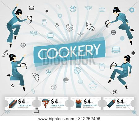 Blue Vector Illustration Concept. Cookery Food Recipes Cover Book.  Healthy Cooking Recipe And Delic