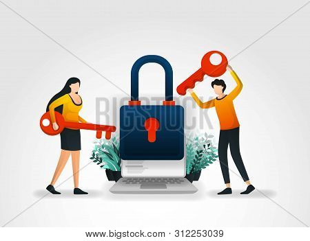 Vector Illustration Concept. People Are Holding Key To Trying To Enter And Unlock Application Securi