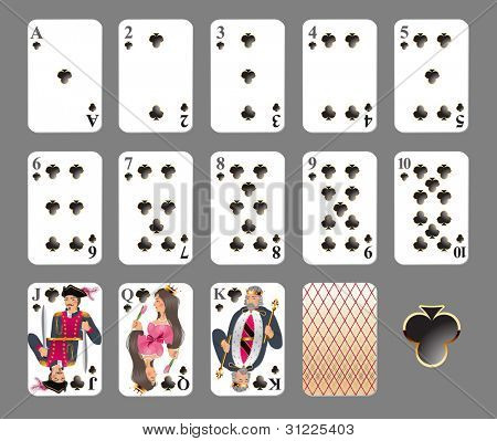 Playing cards - club suit highly detailed vector illustration. EPS 10 - contains transparences!