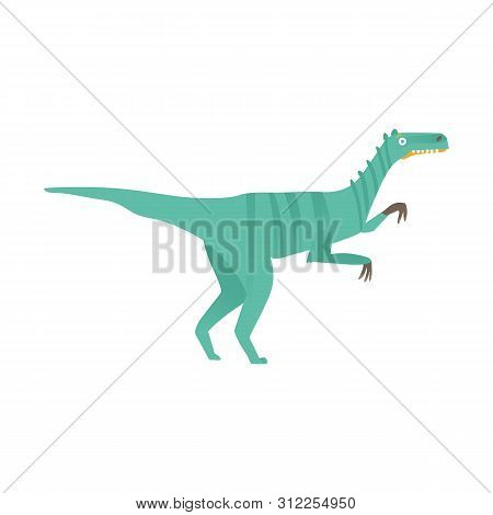 Vector Velociraptor Dinosaur Predator Flat Icon A