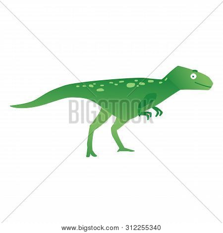 Green Predatory Dinosaur Or Dino, Funny Prehistoric Animal Velociraptor.
