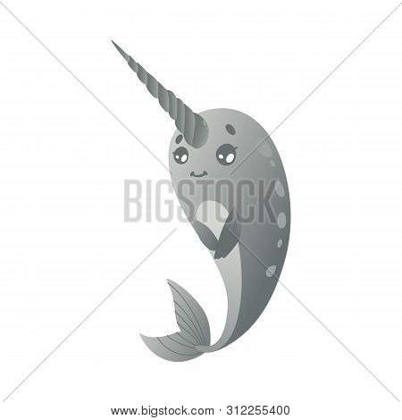 Shy And Modest Cartoon Gray Narwhal, Cute Sea Unicorn With Gradient.