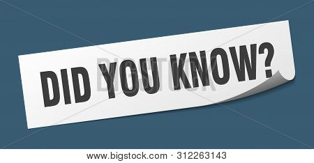 Did You Know Sticker. Did You Know Square Isolated Sign. Did You Know