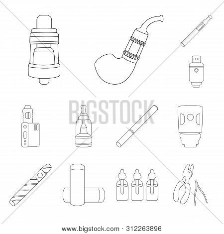 Vector Design Of Nicotine And Filter Icon. Set Of Nicotine And Pipe Stock Symbol For Web.