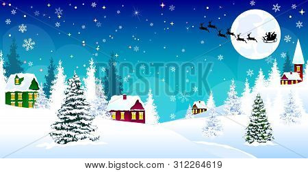Winter Rural Landscape. The Night Eve Christmas. Village, Snow, Forest. Shining Stars And Snowflakes