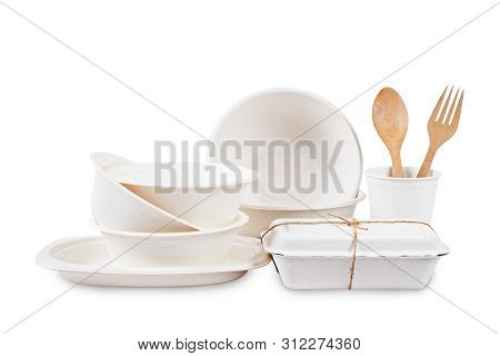 Set Of Unbleached Plant Fiber Food Box And Paper Cup Isolated On White Background, Save Clipping Pat