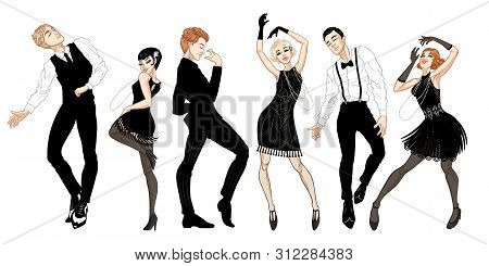 Retro Party Set, Men And Women Dressed In 1920s Style Dancing, Flapper Girls, Handsome Guys In Vinta