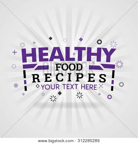 Purple Logo For Healthy Food Recipes. For Food Cover App, Booking Restaurant, Food Websites, Recipe